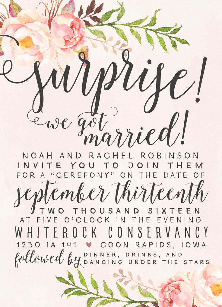 Surprise! We Got Married! Wedding Elopement Invitation - love the style!