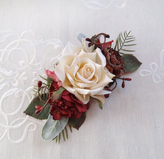 wedding hair piece burgundy red hair accessory by thehoneycomb