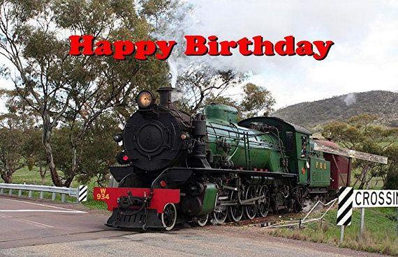 Steam Train Birthday Card 3 Printable Digital Photo Card