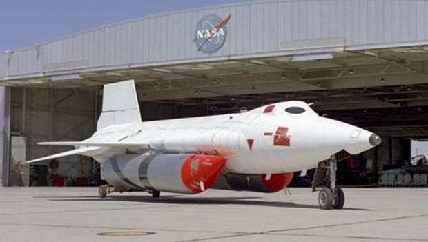 The record setting X-15A-2, aircraft number 56-6671, with its unusual white heat resistant ablative coating and giant anhydrous ammonia tanks under its fuselage.