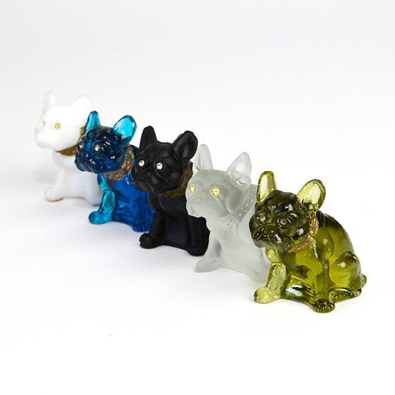 Westmoreland Glass Bulldog Figurines Green Cobalt Blue