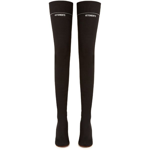 Lighter-heel sock over-the-knee boots Vetements MATCHESFASHION.COM ($1,570) ❤ liked on Polyvore featuring shoes, boots, above-knee boots, thigh boots, above the knee boots, thigh high boots and striped jersey
