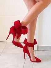 Grande bowknot salto bowknot bombas de sapatos de casamento vermelho oco, Eur 34 - 42(China (Mainland))
