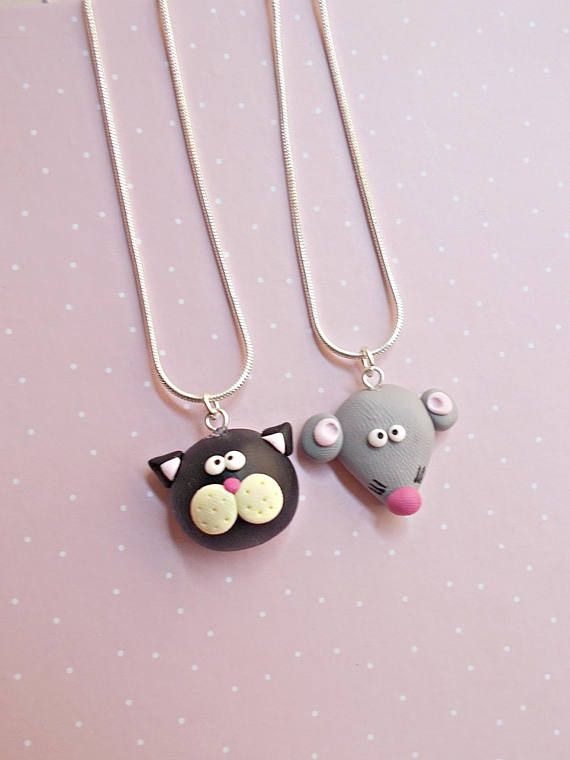 BFF friendship necklace set, Handmade polymer clay charm cute cat and mouse - Miniature animal jewelry- Best friends gift-Back to school