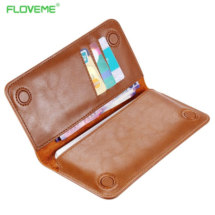 FLOVEME Real Leather Wallet Pouch Case for iphone 7 6s Plus , Genuine Leather Phone Pouches For Samsung Galaxy S6 S7 Cover Card