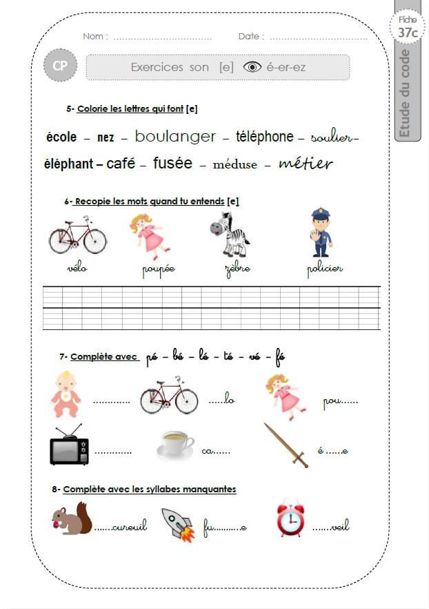 Le son É (é, er, ez) - (37c)   Cours préparatoire, Stratégie de communication, Ecole
