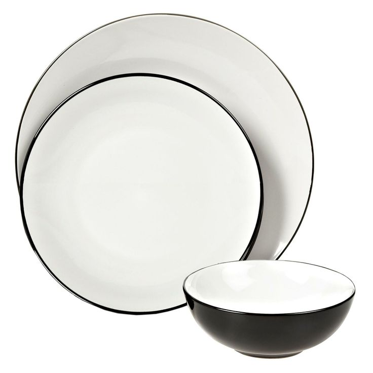 Black twelve piece 'Two Tone' dinner set - Dinnerware - Debenhams.com