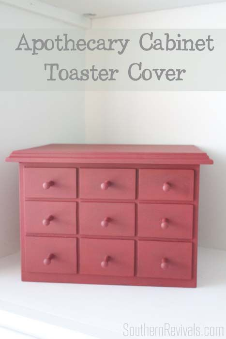 Years ago, when we had a kitchen the size of a bathroom stall, I ordered a faux apothecary cabinet toaster cover. I figured this way my toaster would be cute all the time and I wouldn't really be sacrificing counter space. I needed a new one for our newly updated kitchen, this time in red.They …