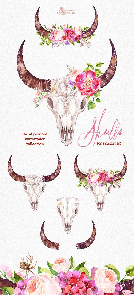 This set of 6 high quality hand painted watercolor clipart in Hires. Perfect graphic for wedding invitations, greeting cards, photos, posters, quotes and more.  -----------------------------------------------------------------  INSTANT DOWNLOAD Once payment is cleared, you can download your files directly from your Etsy account.  -----------------------------------------------------------------  This listing includes 6 images:  2 x skull with horns and flowers 1 x skull with horns 1 x horns…