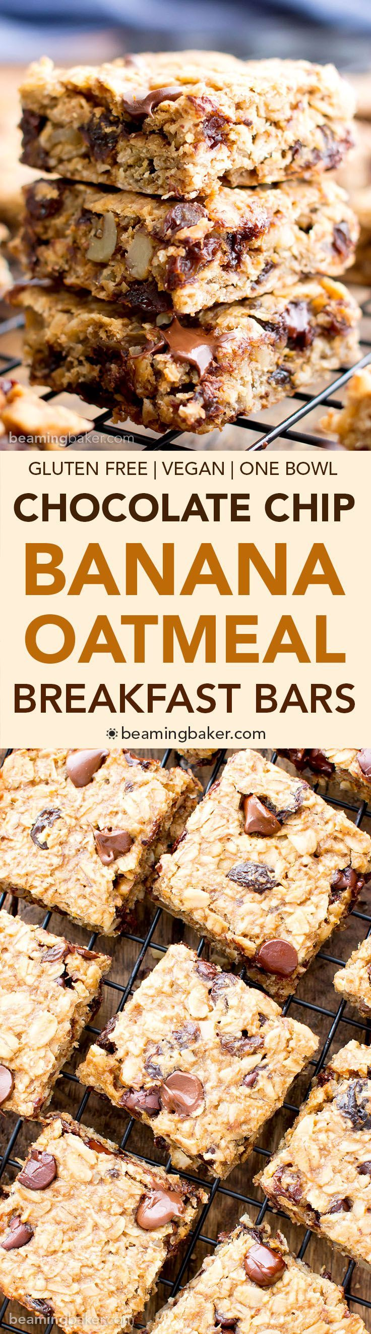 Gluten Free Banana Chocolate Chip Oatmeal Breakfast Bars (V, GF): a one bowl recipe for simply delicious banana breakfast bars packed with your favorites for a good morning! #Vegan #GlutenFree #DairyF