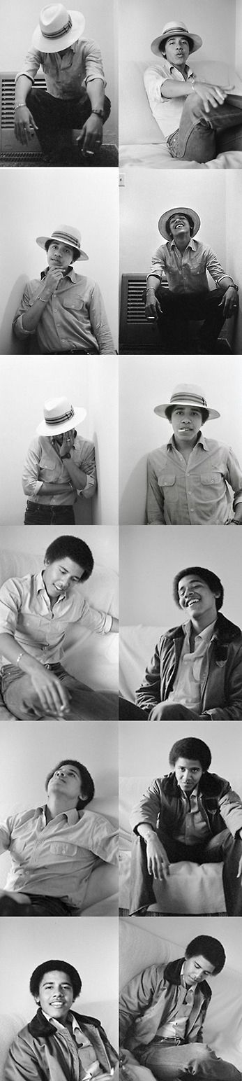 Barack, in 1980, posing for a portrait session when he was a student at Occidental College in Los Angeles