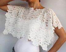 Da sposa scrollata di spalle, Bolero nuziale del Cape, Shabby Chic Wedding Dress Cover-up, avorio pizzo elasticizzato, sposa moderna