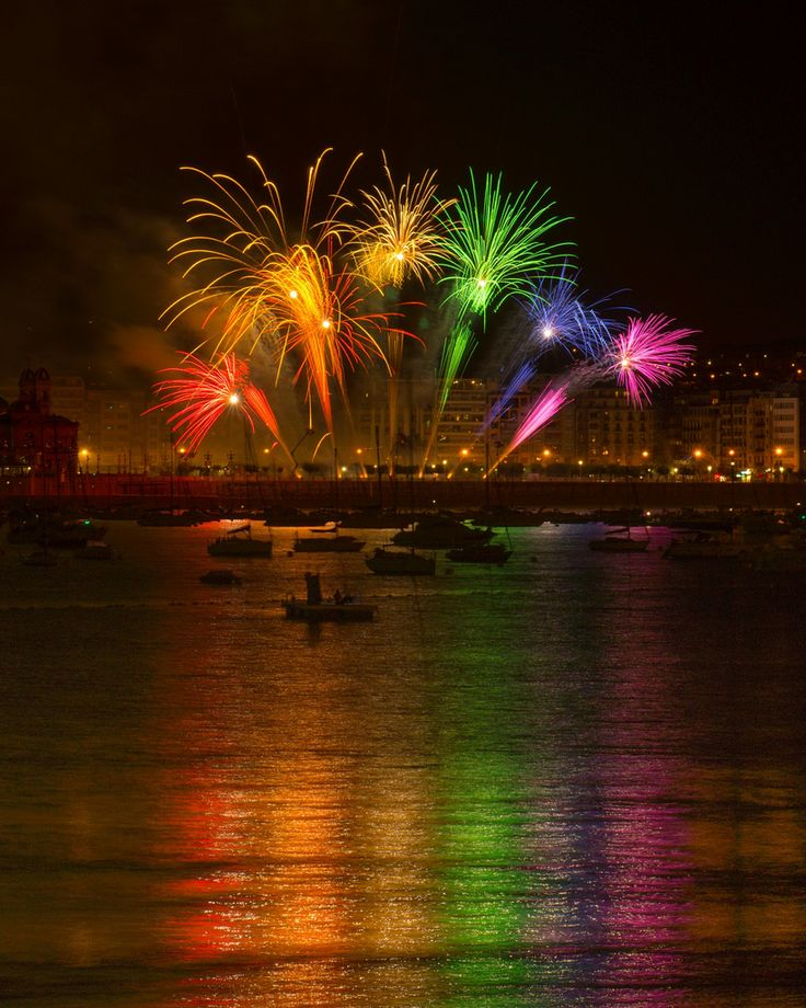 Fireworks competition in San Sebastian, Spain