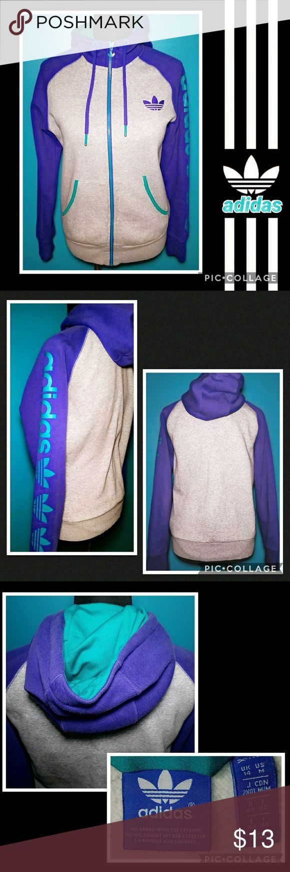 ADIDAS Zip up Hoodie Sweatshirt Shows slight wear~ GUC~ THE BLUE COLOR IS ACTUALLY PURPLE (I had trouble w/my camera showing it's true color) other colors (teal & gray) are true to color in photo~ adidas Tops Sweatshirts & Hoodies