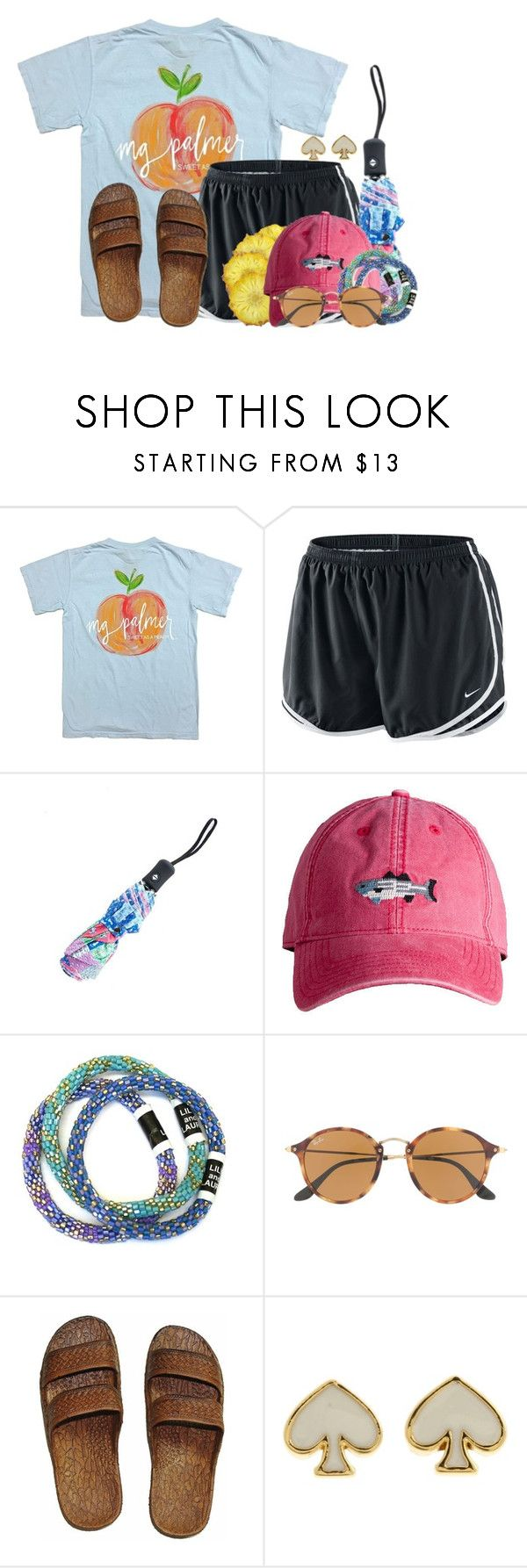 """A little cloudy today ☁️"" by flroasburn ❤ liked on Polyvore featuring NIKE, Ray-Ban and Kate Spade"