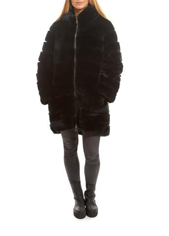 Black Rex Rabbit Fur Hooded Coat