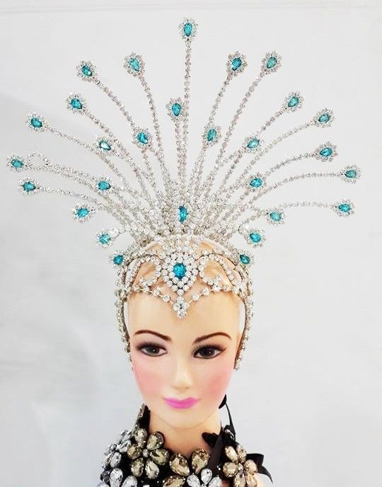 Da NeeNa 6C Showgirl Drag Samba Beauty Pageant Crystal Headdress Crown Tiara #DaNeeNa