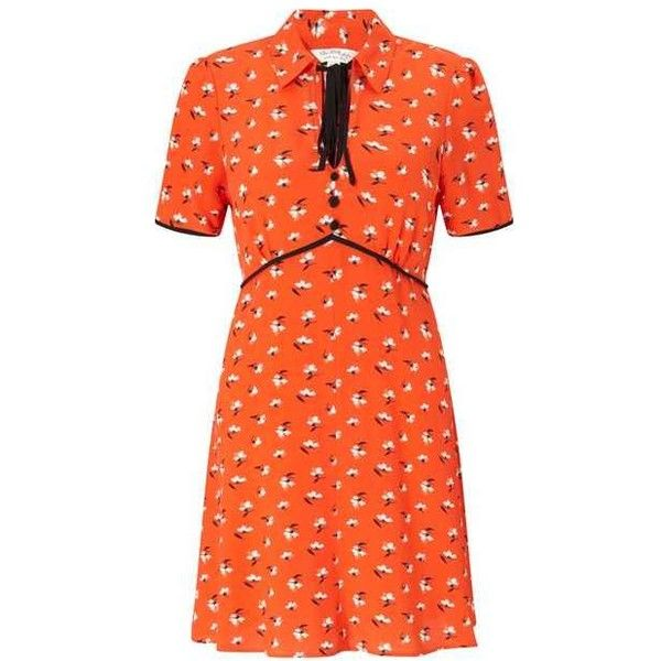 Red Ditsy Tea Dress (4.720 RUB) ❤ liked on Polyvore featuring dresses, orange dresses, tea-length dresses, miss selfridge dresses, red dress and ditsy dress