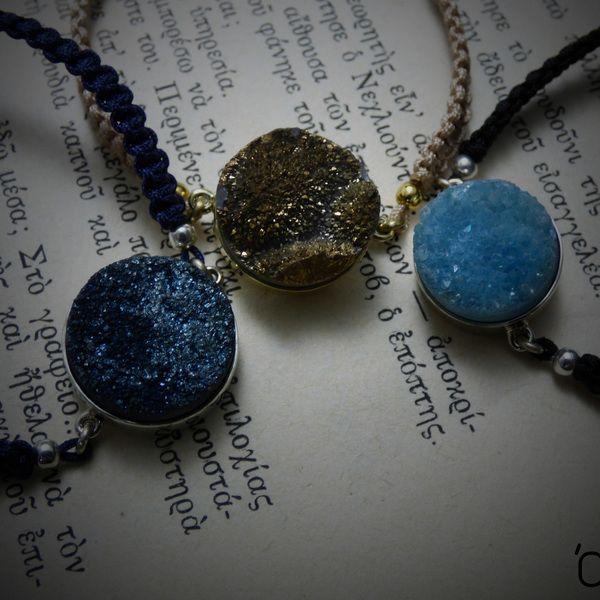 ❤ Druzy gems ❤ - Βραχιόλια μακραμέ με druzy ημιπολύτιμους λίθους!