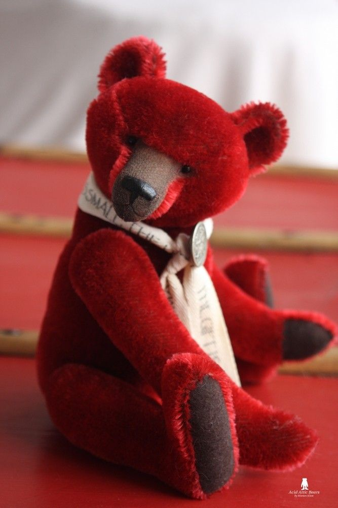 Theophile, 12'' hand dyed red mohair teddy bear by Marion Klein (Acid Attic Bears)
