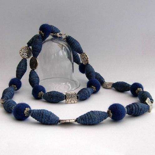 denim beads. Made the same way as the magazine beads in my craft folder.