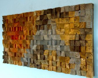 Large Wood wall Art wood mosaic geometric art by ArtGlamourSligo