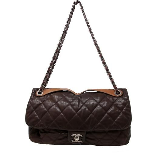 b9959cc7791ecd Chanel with Top Handle Classic Flap In The Mix Quilted Iridescent Glazed Maxi  Jumbo Brown Leather Calfskin Shoulder Bag. Get one of the hottest styles of  ...