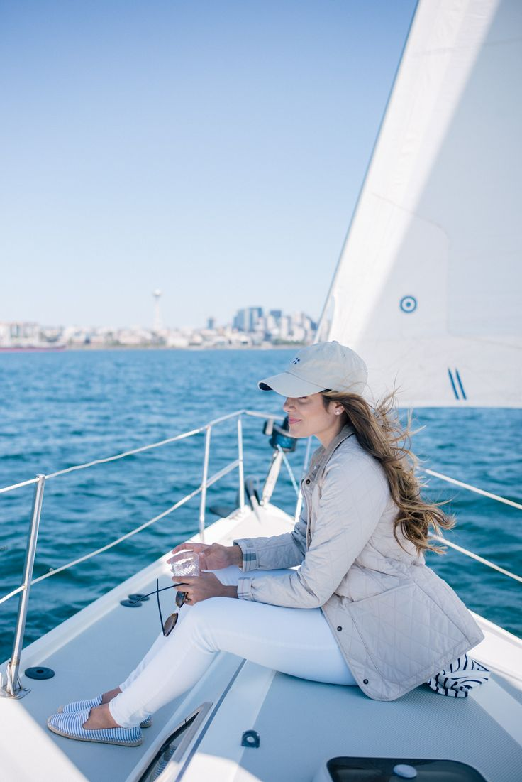 Gal Meets Glam Sail Away With Me - Barbour jacket, Old Navy jeans, Tuckernuck hat, & Rayban sunglasses