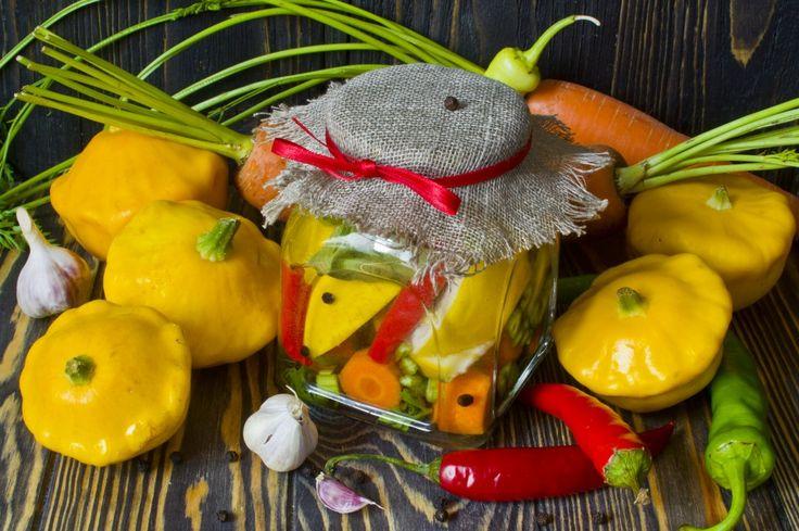 Маринованные патиссоны с морковью и острым перцем. Пошаговый рецепт с фото…