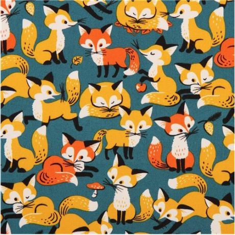 Cosmo canvas foxes petrol