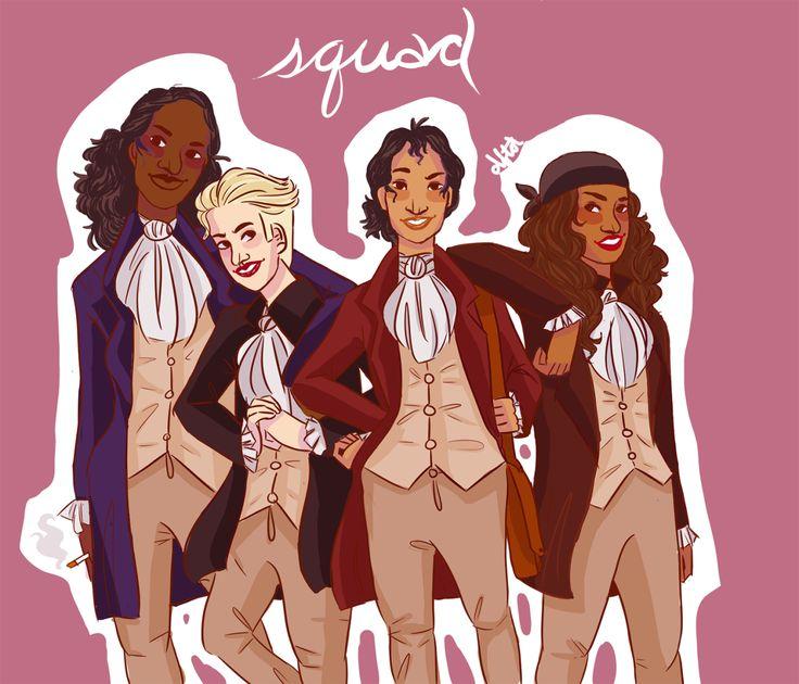 The squad (genderbent) - Lafayette, Hercules Mulligan, Alexander Hamilton, and John Laurens