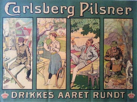 1960s Carlsberg Beer Ad Original Vintage by OutofCopenhagen