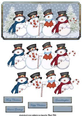 Snowman and his pals card front and decoupage on Craftsuprint designed by Angela Wake - Snowman and his pals card front and decoupage, with sentiment tags merry Christmas, happy Christmas, seasons greetings, granddaughter - Now available for download!