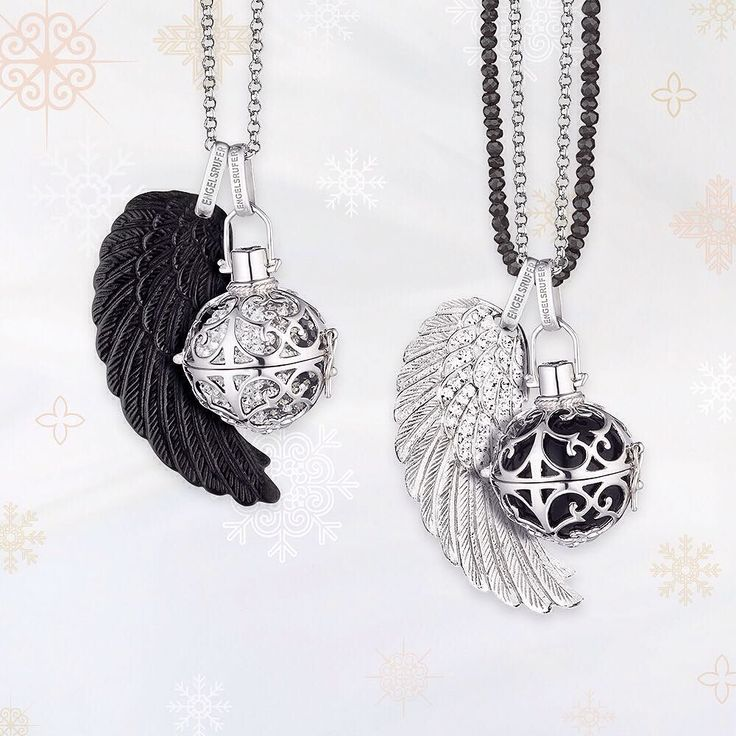 From engelsrufer_uk_ireland - Its A BLACKFRIDAY! BLACK dominates the light its appearance is mysterious & elegant. #BlackFriday #Enegelsrufer #Black #Whisperer #Pendant #Angel #Wing #Chime