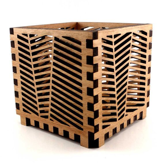Wood candle holder with herringbone pattern laser by for Cardboard candle holders