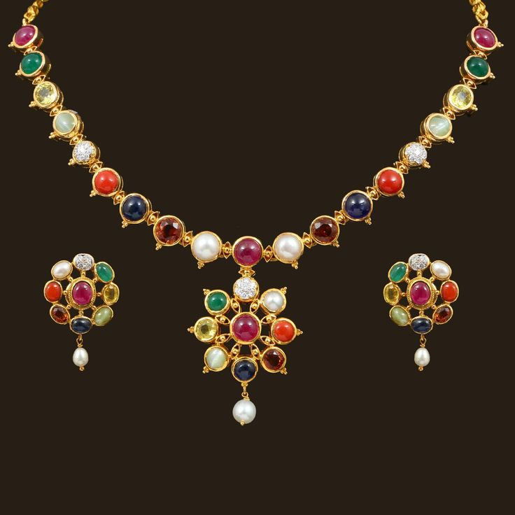 Navaratna Necklace Set (102A2069) | Vummidi Bangaru Jewellers