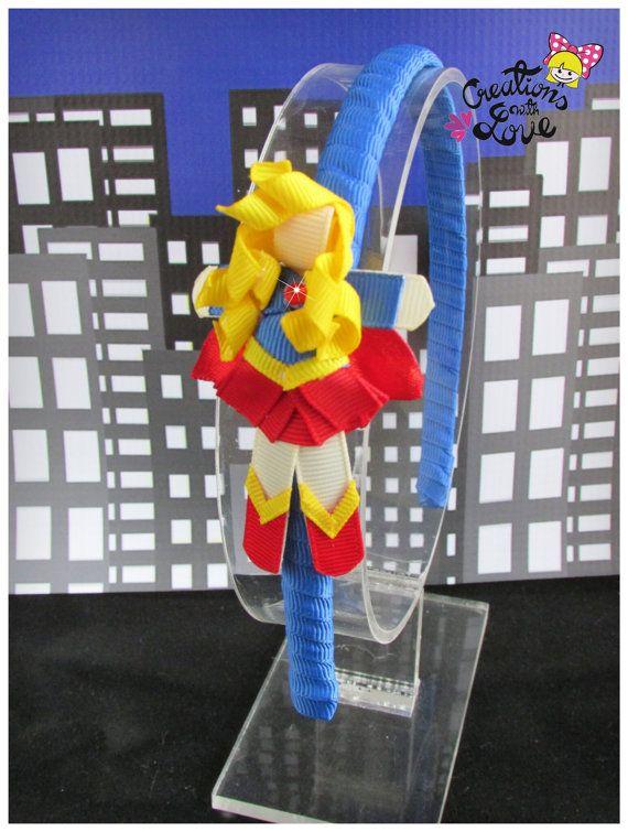 Girl Superhero Ribbon Sculpture Headband. Superhero Headband