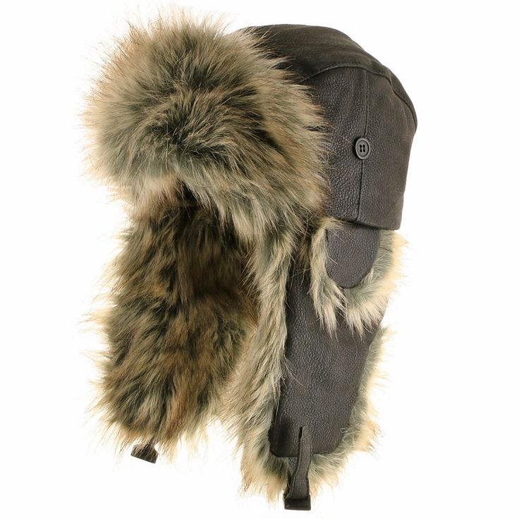 Made with rich faux leather and trimmed with warm faux fur. Water repellent. This hat has three positions that allow for any weather: with the flaps all the way up, with the flaps partially down to co                                                                                                                                                                                 More