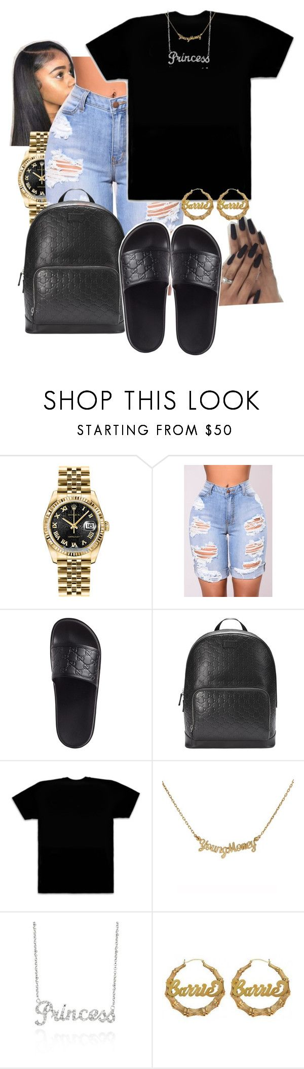 """"" by queenarmanii ❤ liked on Polyvore featuring Rolex, Gucci, October's Very Own and Belk & Co."