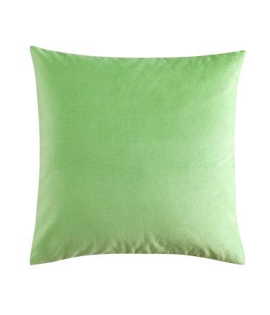 Or in spearmint. Velvet pillow case by H&M