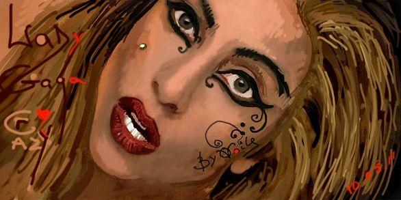 Граффити Вконтакте (vk.com) Леди Гаги, автор: Ольга Войльс | Vkontakte (vk.com) graffiti of Lady Gaga by Olga Voils