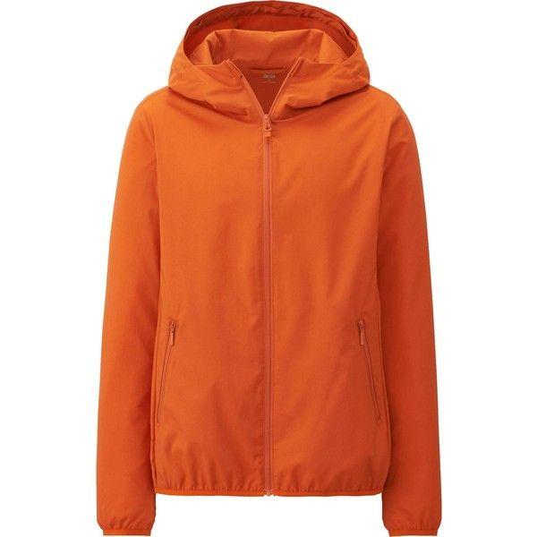 UNIQLO Light Pocketable Parka (£25) ❤ liked on Polyvore featuring outerwear, coats, orange, sport coat, orange coat, orange sports coat, uniqlo parka and uniqlo coats