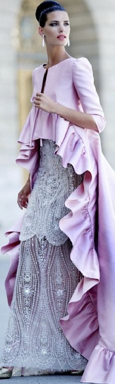 HAUTE FLASH Valentino Fall 2007 evening gown and pale purple ruffle evening coat - classic and timeless style!
