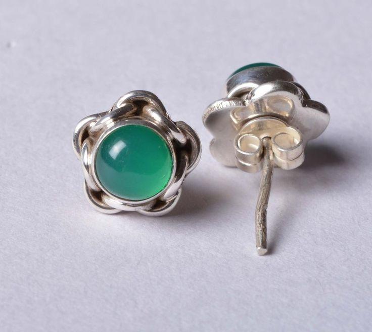 925 Solid Sterling Silver Stud Natural Green Onyx Gemstone 2.0 CM JSS-34 #JaipurSilver