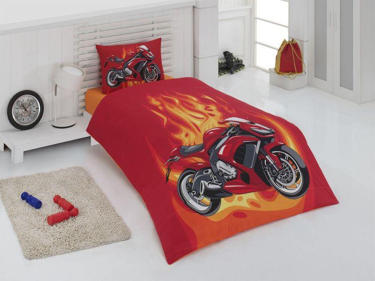 Постельное белье для подростков Motokross красное, полуторное #длмальчиков #мотоцикл