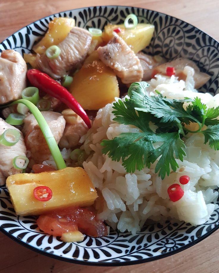 Oosters... kip - ananas -  gember  lenteui - koriander - rijst 🌶