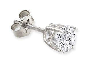 Diamond Stud Earrings For Men in 14K White Gold 1 ct (Online at Gemologica.com)