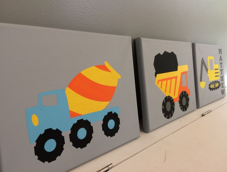 A personal favorite from my Etsy shop https://www.etsy.com/listing/268207196/construction-trucks-wall-decor-boys