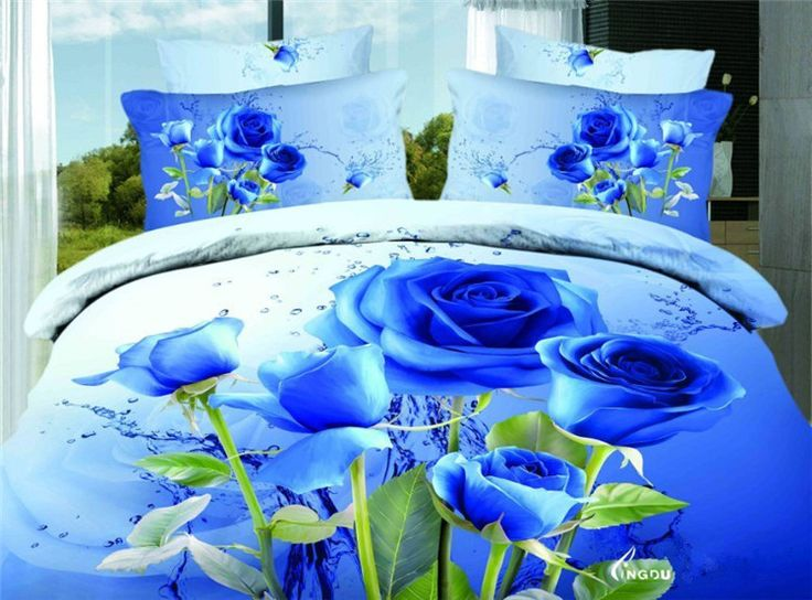 New 100% Cotton Pastoral Style Plant Flowers Printed Bedspread Sheets Duvet Cover Queen Size 4 Piece 3D Blue Roses Bedding sets