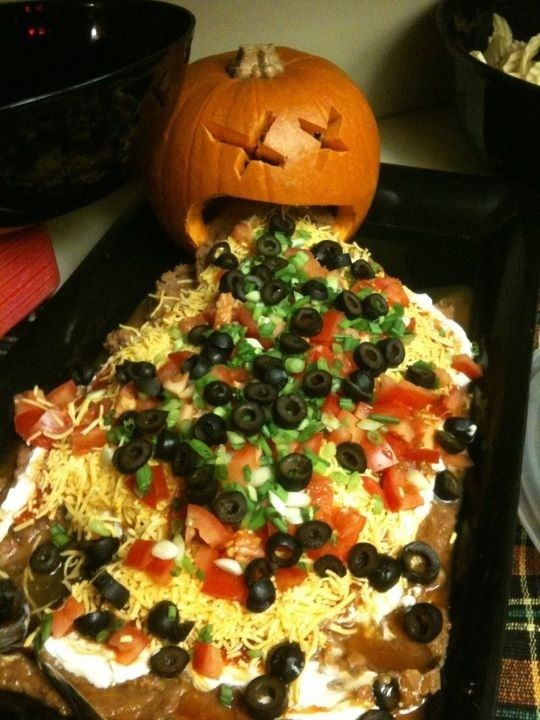 7 layer dip gets gruesome for a Halloween buffet. (no link/recipe)